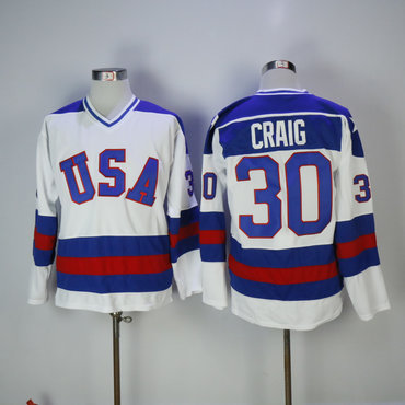 1980 Team USA #30 Craig White Olympic Throwback Stitched NHL Jersey