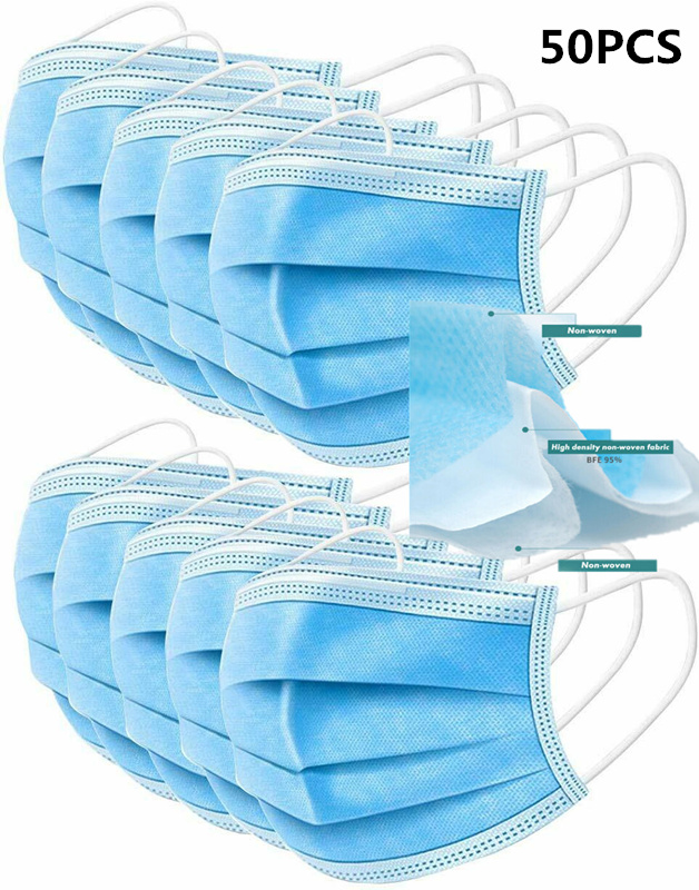 50PCS 3 Layer Disposable Medical Face Masks With Earloop Blocking Dust Air Flu