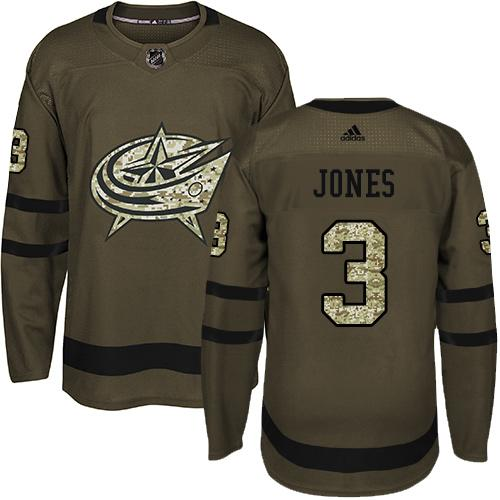 Adidas Blue Jackets #3 Seth Jones Green Salute to Service Stitched NHL Jersey