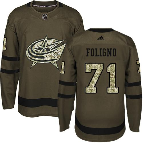 Adidas Blue Jackets #71 Nick Foligno Green Salute to Service Stitched NHL Jersey