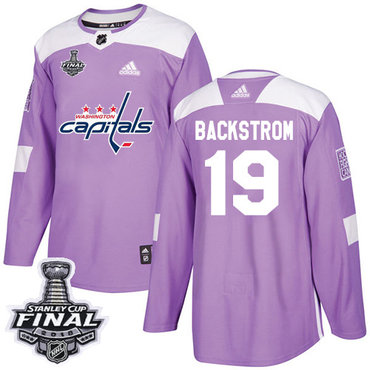 Adidas Capitals #19 Nicklas Backstrom Purple Authentic Fights Cancer 2018 Stanley Cup Final Stitched NHL Jersey