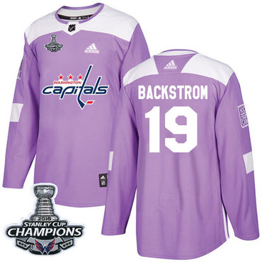 Adidas Capitals #19 Nicklas Backstrom Purple Authentic Fights Cancer Stanley Cup Final Champions Stitched NHL Jersey