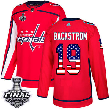Adidas Capitals #19 Nicklas Backstrom Red Home Authentic USA Flag 2018 Stanley Cup Final Stitched NHL Jersey