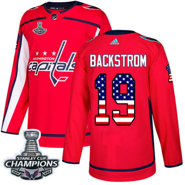 Adidas Capitals #19 Nicklas Backstrom Red Home Authentic USA Flag Stanley Cup Final Champions Stitched NHL Jersey