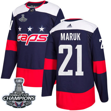 Adidas Capitals #21 Dennis Maruk Navy Authentic 2018 Stadium Series Stanley Cup Final Champions Stitched NHL Jersey
