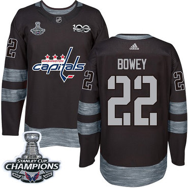 Adidas Capitals #22 Madison Bowey Black 1917-2017 100th Anniversary Stanley Cup Final Champions Stitched NHL Jersey