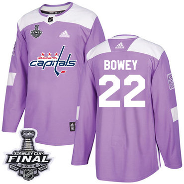 Adidas Capitals #22 Madison Bowey Purple Authentic Fights Cancer 2018 Stanley Cup Final Stitched NHL Jersey