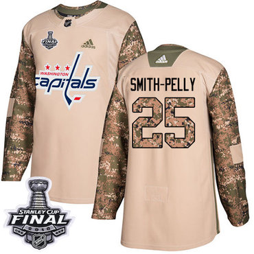 Adidas Capitals #25 Devante Smith-Pelly Camo Authentic 2017 Veterans Day 2018 Stanley Cup Final Stitched NHL Jersey