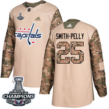 Adidas Capitals #25 Devante Smith-Pelly Camo Authentic 2017 Veterans Day Stanley Cup Final Champions Stitched NHL Jersey