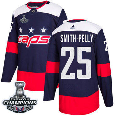 Adidas Capitals #25 Devante Smith-Pelly Navy Authentic 2018 Stadium Series Stanley Cup Final Champions Stitched NHL Jersey