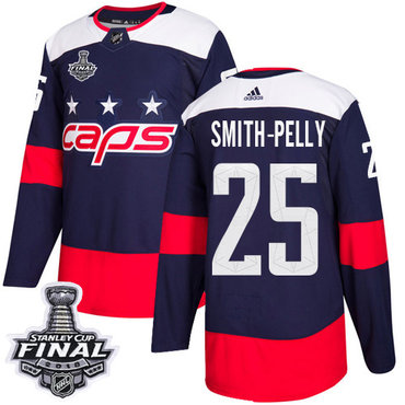 Adidas Capitals #25 Devante Smith-Pelly Navy Authentic 2018 Stadium Series Stanley Cup Final Stitched NHL Jersey