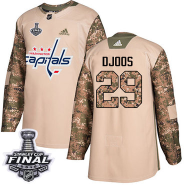 Adidas Capitals #29 Christian Djoos Camo Authentic 2017 Veterans Day 2018 Stanley Cup Final Stitched NHL Jersey
