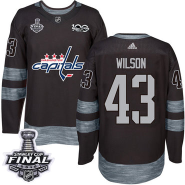 Adidas Capitals #43 Tom Wilson Black 1917-2017 100th Anniversary 2018 Stanley Cup Final Stitched NHL Jersey