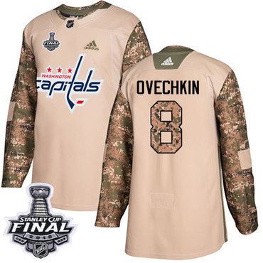 Adidas Capitals #8 Alex Ovechkin Camo Authentic 2017 Veterans Day 2018 Stanley Cup Final Stitched NHL Jersey