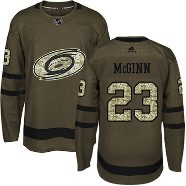 Adidas Hurricanes #23 Brock McGinn Green Salute to Service Stitched NHL Jersey