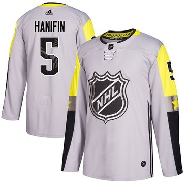 Adidas Hurricanes #5 Noah Hanifin Gray 2018 All-Star Metro Division Authentic Stitched NHL Jersey