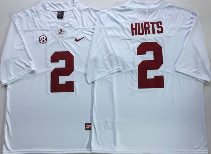 Alabama Crimson Tide 2 Jalen Hurts White Nike College Football Jersey