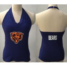 All Sport Couture Chicago Bears Women's Blown Cover Halter Top Navy Blue