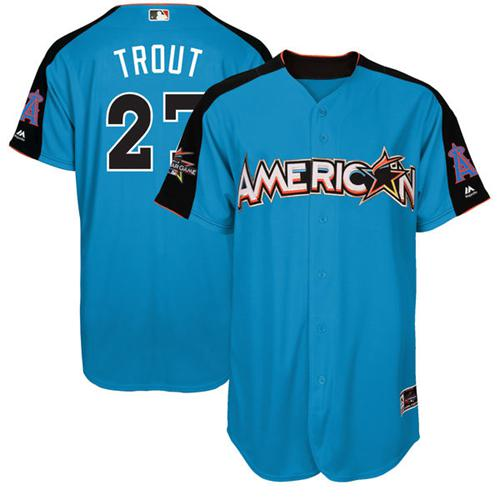 Angels of Anaheim #27 Mike Trout Blue 2017 All-Star American League Stitched MLB Jersey