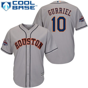 Astros #10 Yuli Gurriel Grey Cool Base 2017 World Series Champions Stitched Youth MLB Jersey