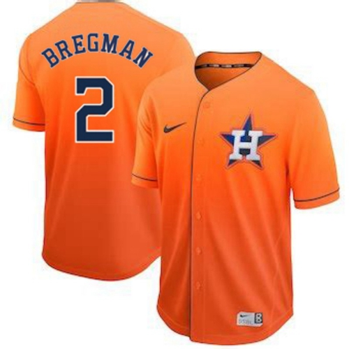 Astros #2 Alex Bregman Orange Fade Authentic Stitched Baseball Jersey