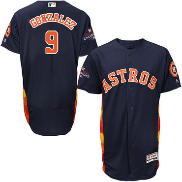 Astros #9 Marwin Gonzalez Navy Blue Flexbase Authentic Collection 2017 World Series Champions Stitched MLB Jersey