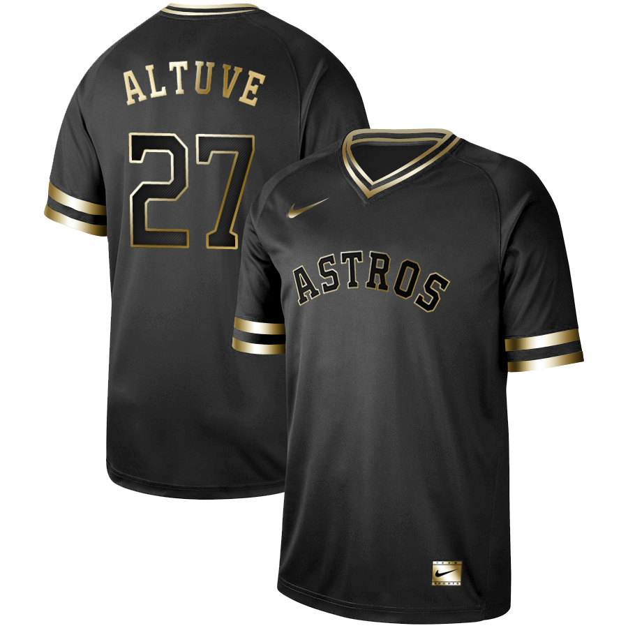Astros 27 Jose Altuve Black Gold Nike Cooperstown Collection Legend V Neck Jersey