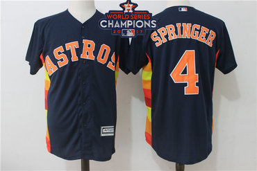 Astros 4 George Springer Navy Alternate 2017 World Series Champions Cool Base Player Jersey