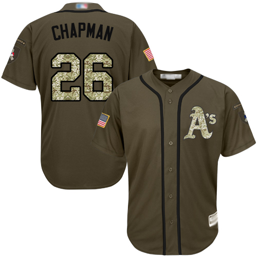 Athletics #26 Matt Chapman Green Salute to Service Stitched Baseball Jersey