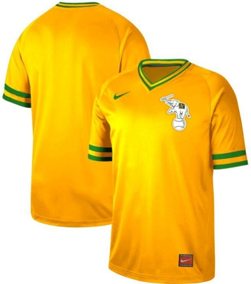 Athletics Blank Yellow Authentic Cooperstown Collection Stitched Baseball Jersey