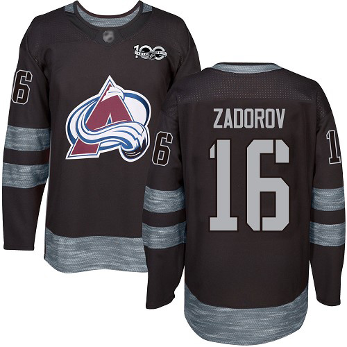 Avalanche #16 Nikita Zadorov Black 1917-2017 100th Anniversary Stitched Hockey Jersey