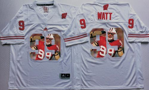 Badgers #99 J.J. Watt White Player Fashion Stitched NCAA Jersey