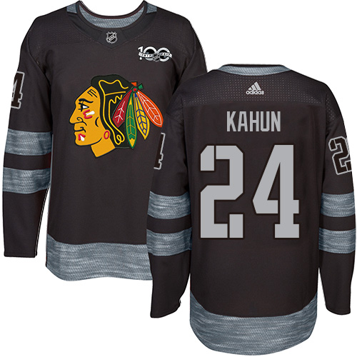 Blackhawks #24 Dominik Kahun Black 1917-2017 100th Anniversary Stitched Hockey Jersey