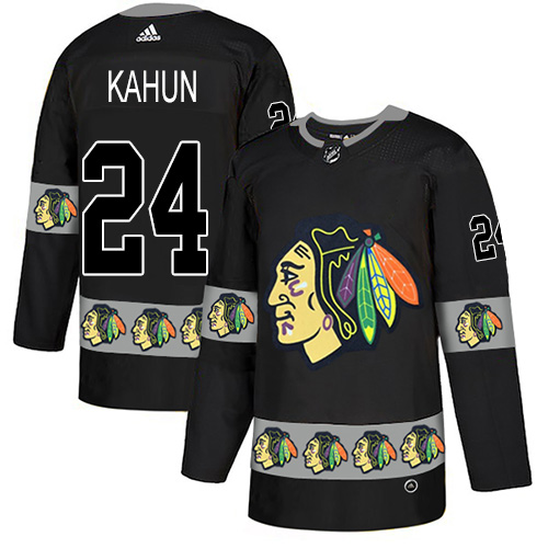 Blackhawks #24 Dominik Kahun Black Authentic Team Logo Fashion Stitched Hockey Jersey
