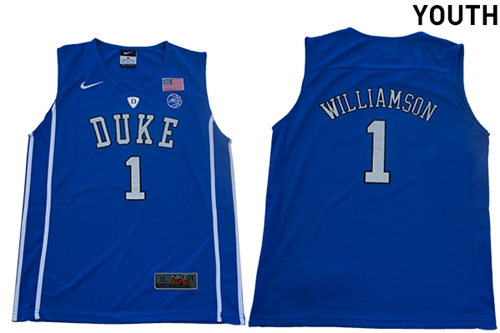 Blue Devils #1 Zion Williamson Blue Basketball Elite Stitched Youth College Jersey