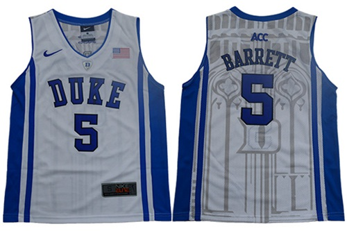 Blue Devils #5 R.J. Barrett White Blue Basketball Elite Stitched Youth College Jersey