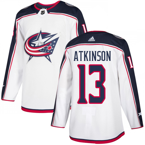Blue Jackets #13 Cam Atkinson White Road Authentic Stitched Hockey Jersey
