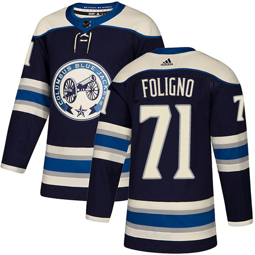 Blue Jackets #71 Nick Foligno Navy Alternate Authentic Stitched Hockey Jersey