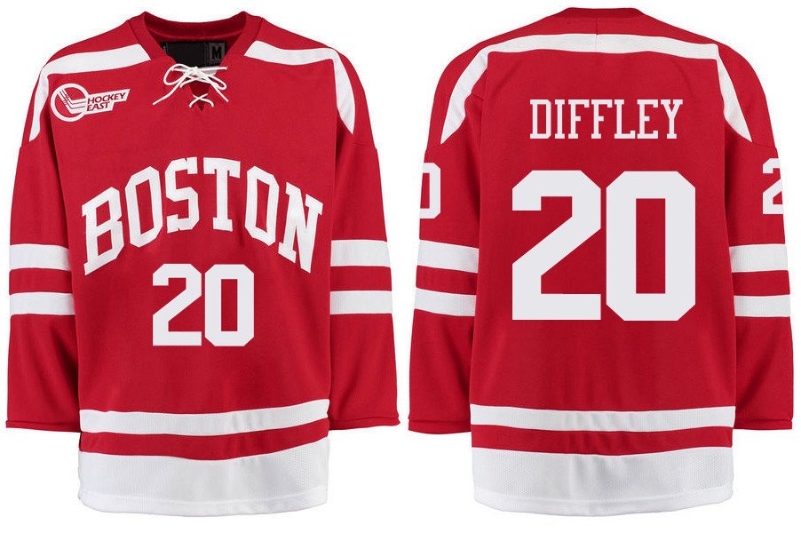 Boston University Terriers BU 20 Brien Diffley Red Stitched Hockey Jersey