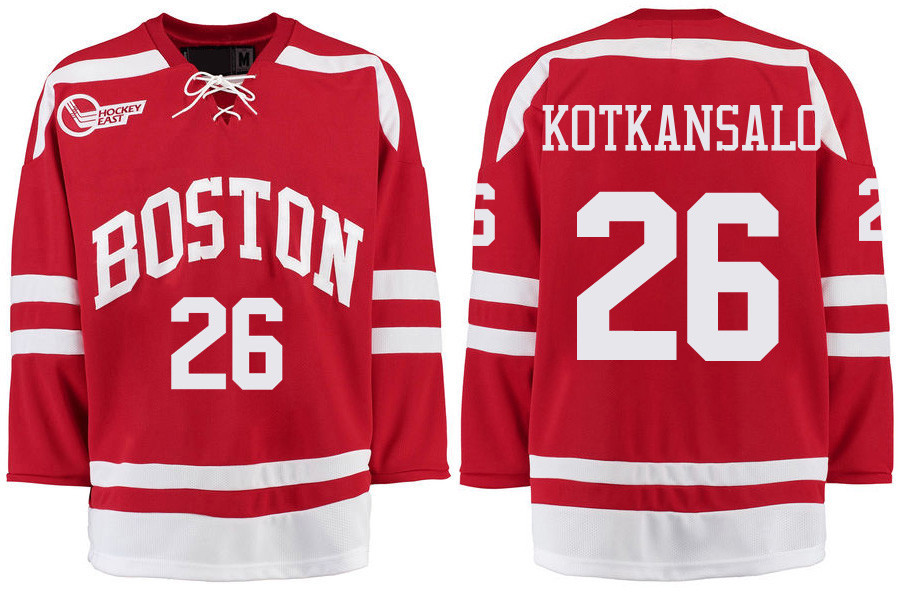 Boston University Terriers BU 26 Kasper Kotkansalo Red Stitched Hockey Jersey
