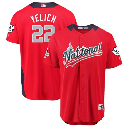 Brewers #22 Christian Yelich Red 2018 All-Star National League Stitched Baseball Jersey