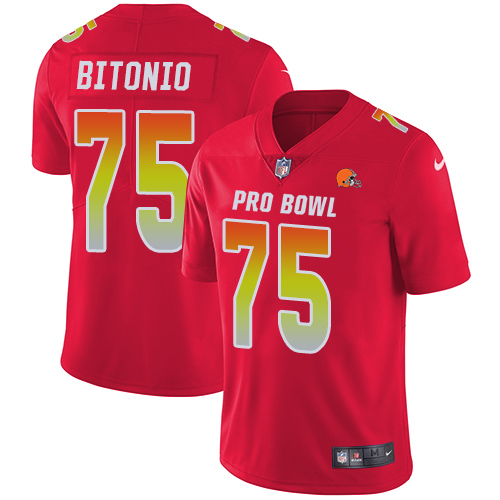 Browns #75 Joel Bitonio Red Youth Stitched Football Limited AFC 2019 Pro Bowl Jersey