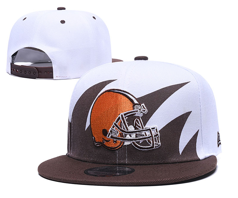 Browns Team Logo White Brown Adjustable Hat GS
