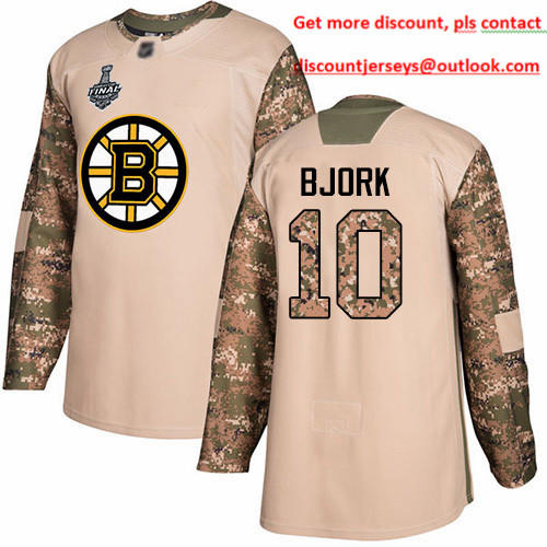 Bruins #10 Anders Bjork Camo Authentic 2017 Veterans Day Stanley Cup Final Bound Stitched Hockey Jersey