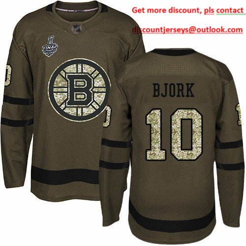 Bruins #10 Anders Bjork Green Salute to Service Stanley Cup Final Bound Stitched Hockey Jersey