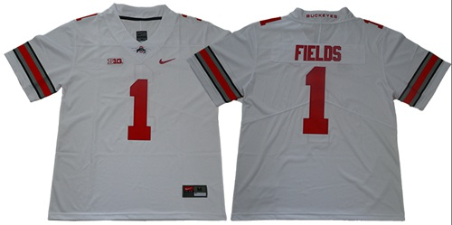 Buckeyes #1 Justin Fields White Limited Stitched College Jersey