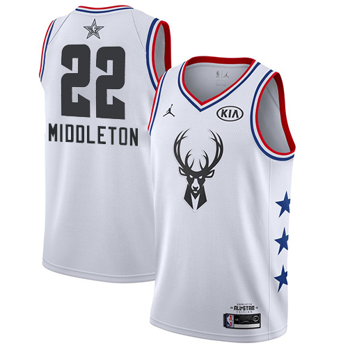 Bucks #22 Khris Middleton White Basketball Jordan Swingman 2019 All-Star Game Jersey