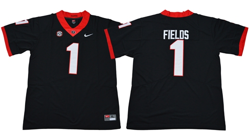 Bulldogs #1 Justin Fields Black Limited Stitched NCAA Jersey