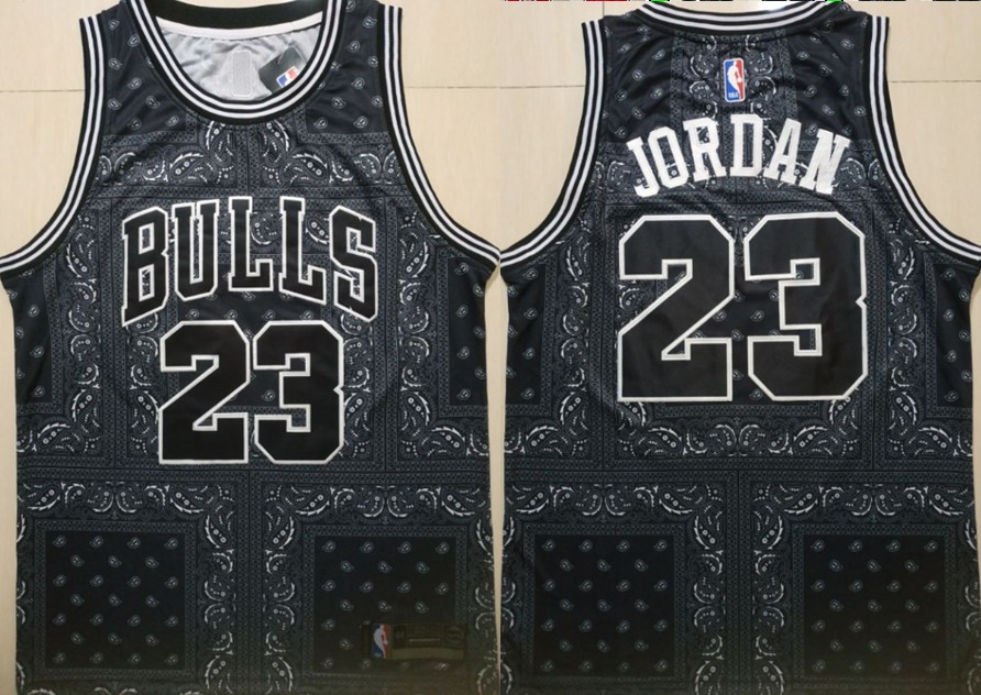 Bulls 23 Michael Jordan Black Fashion Swingman Jersey