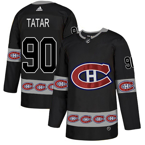 Canadiens #90 Tomas Tatar Black Authentic Team Logo Fashion Stitched Hockey Jersey